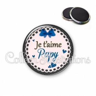 Magnet 56mm Je t'aime papy (005BLE07)