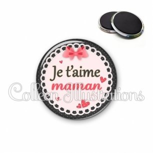 Magnet 56mm Je t'aime maman (005ROS01)