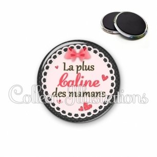 Magnet 56mm Maman la plus caline (005ROS01)
