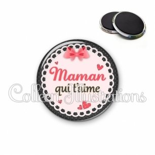 Magnet 56mm Maman qui t'aime (005ROS01)