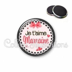 Magnet 56mm Marraine je t'aime (005ROS01)