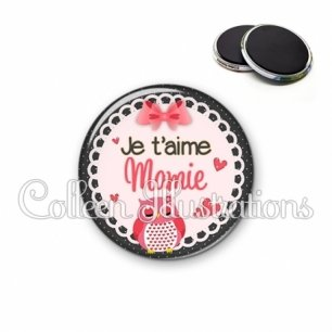 Magnet 56mm Je t'aime mamie (005ROS02)