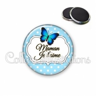 Magnet 56mm Maman je t'aime (006BLE01)