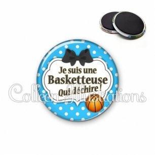 Magnet 56mm Basketteuse qui déchire (006BLE19)
