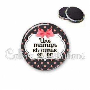 Magnet 56mm Maman et amie en or (006NOI22)