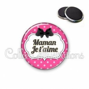 Magnet 56mm Maman je t'aime (006ROS06)