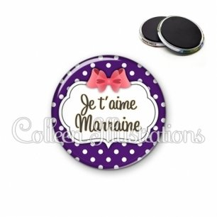Magnet 56mm Marraine je t'aime (006VIO09)