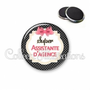 Magnet 56mm Super assistante d'agence (008NOI02)