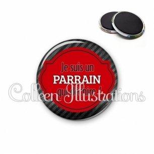 Magnet 56mm Parrain qui déchire (011NOI01)