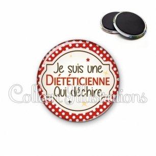 Magnet 56mm Diététicienne qui déchire (011ROU01)