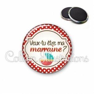 Magnet 56mm Veux-tu être ma marraine berceau (011ROU01)