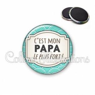 Magnet 56mm Papa le plus fort (013BLE04)