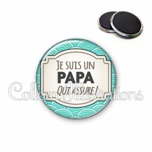 Magnet 56mm Papa qui assure (013BLE04)