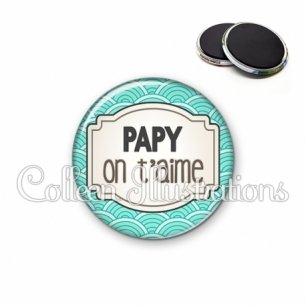 Magnet 56mm Papy je t'aime (013BLE04)