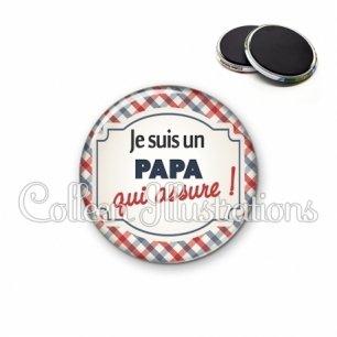 Magnet 56mm Papa qui assure (013MUL01)