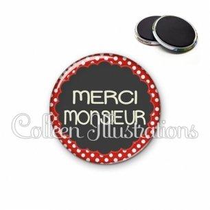 Magnet 56mm Merci monsieur (017ROU03)
