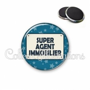 Magnet 56mm Super agent immobilier (018BLE01)