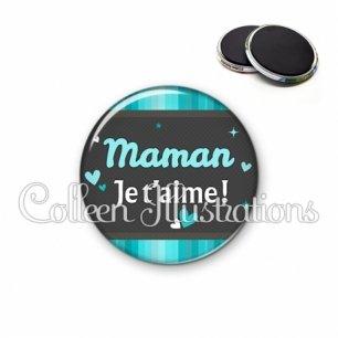 Magnet 56mm Maman je t'aime (019BLE02)