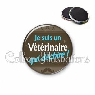 Magnet 56mm Vétérinaire qui déchire (019MAR01)