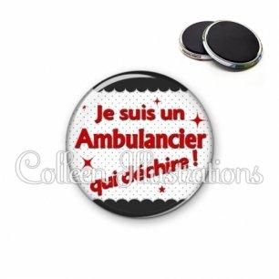 Magnet 56mm Ambulancier qui déchire (019NOI01)