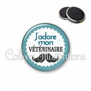 Magnet 56mm J'adore mon vétérinaire (028BLE04)
