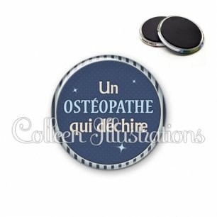Magnet 56mm Ostéopathe qui déchire (031BLE07)