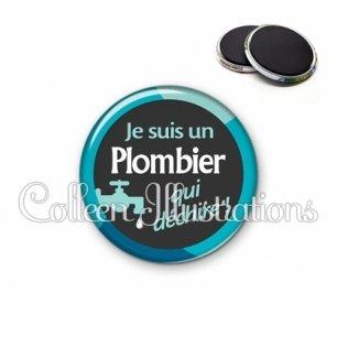Magnet 56mm Plombier qui déchire (034BLE02)