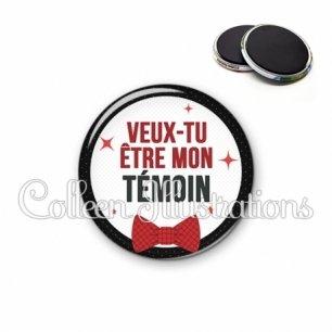 Magnet 56mm Veux-tu être mon témoin (036NOI01)
