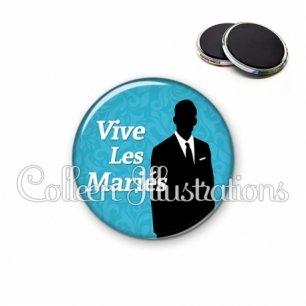 Magnet 56mm Vive les mariés (051BLE01)