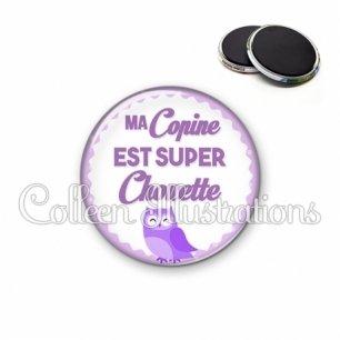 Magnet 56mm Ma copine est super chouette (067VIO02)