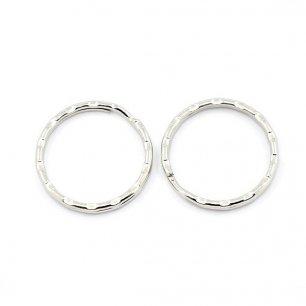 Lot de 10 anneaux attaches porte-clés métal argenté diamètre 25mm
