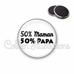 Magnet 56mm 50% maman 50% papa (181BLA11)