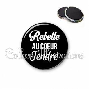 Magnet 56mm Rebelle au cœur tendre (181NOI09)