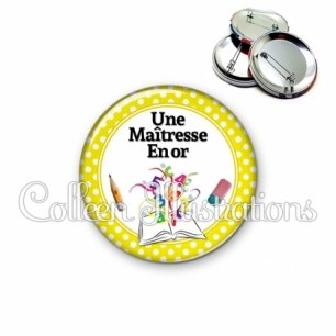 Badge 56mm Maîtresse en or (001JAU03)