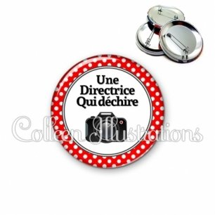 Badge 56mm Directrice qui déchire (001ROU01)