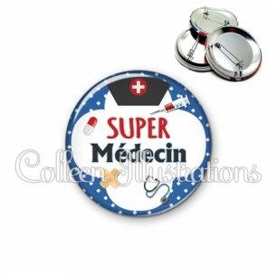 Badge 56mm Super médecin (002BLE01)