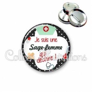 Badge 56mm Sage-femme qui déchire (002NOI01)