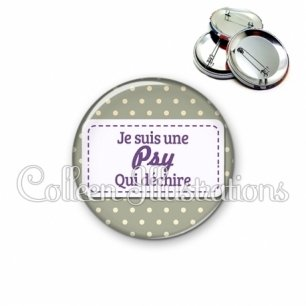 Badge 56mm Psy qui déchire (003GRI01)