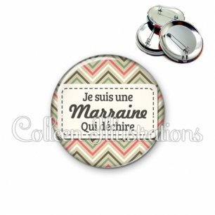 Badge 56mm Marraine qui déchire (003MUL01)