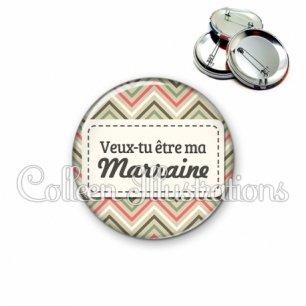 Badge 56mm Veux-tu être ma marraine (003MUL01)