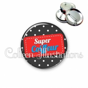 Badge 56mm Super coiffeur (003NOI01)