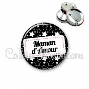 Badge 56mm Maman d'amour (003NOI02)