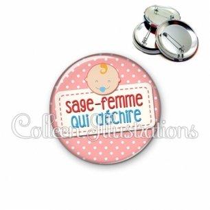 Badge 56mm Sage-femme qui déchire (003ROS07)