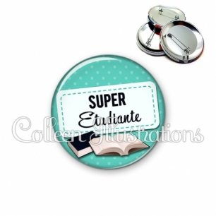 Badge 56mm Super étudiante (003VER01)
