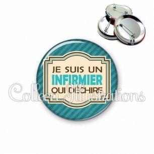 Badge 56mm Infirmier qui déchire (004BLE01)