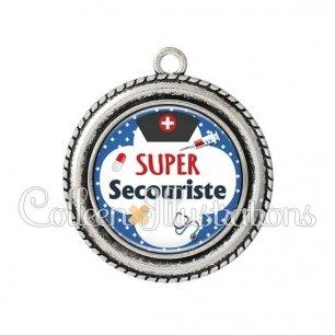 Pendentif résine Super secouriste (002BLE01)