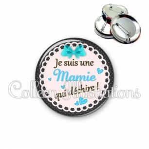 Badge 56mm Mamie qui déchire (005BLE06)