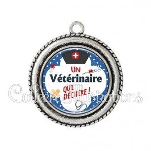 Pendentif résine Vétérinaire qui déchire (002BLE01)
