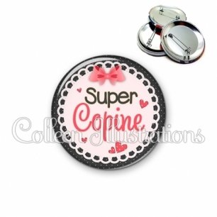 Badge 56mm Super copine (005ROS01)