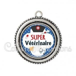 Pendentif résine Super vétérinaire (002BLE01)
